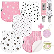 Baby Burp Cloths Pack of 5 by Dodo Babies + 2 Pacifier Clips + Pacifier Case in a Gift Bag, Premium Quality for Girls Soft and Absorbent, Excellent Baby Shower/Registry Gift
