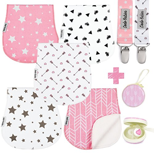 Baby Burp Cloths Pack of 5 by Dodo Babies + 2 Pacifier Clips + Pacifier Case, Premium Quality For Girls Soft and Absorbent, Excellent Baby Shower/Registry Gift ()