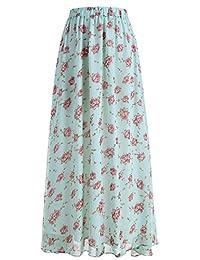 Dresstells Women's Long Pleated Boho Floral Print Maxi Chiffon Vintage Beach Skirts