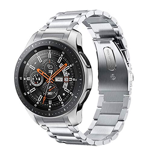 Kartice Compatible with Samsung Galaxy Watch (46mm) Bands 22mm Solid Stainless Steel Metal Replacement Strap for Galaxy Watch SM-R800 (Silver)