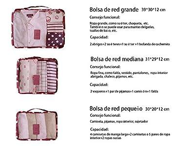 Urijk 11 - Juego de 6 bolsas de viaje para organizar el equipaje: bolsas impermeables para ropa, zapatos, toallas, ropa sucia Pink Smile: Amazon.es: Hogar