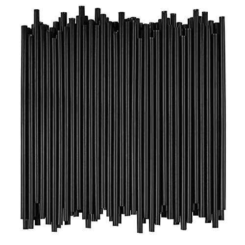 Disposable Drinking Straws - 7 3/4 Inches Long - Standard Size (Black, 250) -