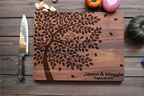 Personalized Cutting Board, Custom Engraved cutting board, 12*16, Birds' Nest Heart, Custom Wedding Gift, Housewarming Gift, Anniversary Gift, cutting board Tree Birds