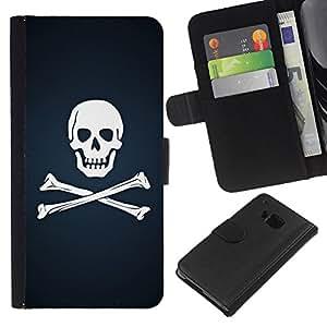 KingStore / Leather Etui en cuir / HTC One M7 / Cráneo y Huesos de la bandera pirata
