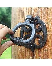 CKH Retro Nostálgico Puerta de Hierro Forjado de Hierro Fundido Aldaba Cuatro varas de Madera de la manija de la Puerta de Madera de eucalipto Puerta de Hierro manija de la Puerta