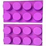 RETON (2 Pack) 8-Cavity Round Silicone Mold for Soap, Cake, Bread, Cupcake, Cheesecake, Cornbread, Muffin, Brownie, and More