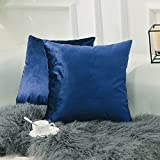 Decorative Pillow Cover - Home Brilliant Set of 2 Deluxe Velvet Decorative Pillowcases Throw Pillow Covers Set Cushion Covers, 18 x 18 inches(45x45cm), Royal Blue