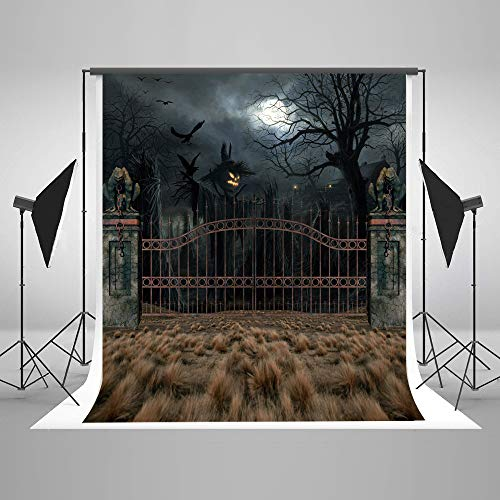 Photographic Background Backdrop 5x7ft Black Night Wood Tree Haunted House Halloween Backdrops for Pictures Custom Photo Studio Background Cloth