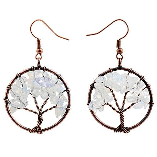 (SUNYIK Opalite Tree of Life Dangle Earrings for Women(Copper Plated) )