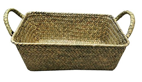 Vintage Rectangle Seagrass Basket with Flat Surface Weaving (1PC Rect Basket 9.75