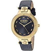 Versus by Versace Women's 'Claremont' Quartz Gold-Tone and Leather Watch, Color:Blue (Model: VSP480218)