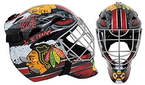 Corey Crawford Signed Chicago Blackhawks Full Size Hockey Goalie Mask w/2x SC Champs