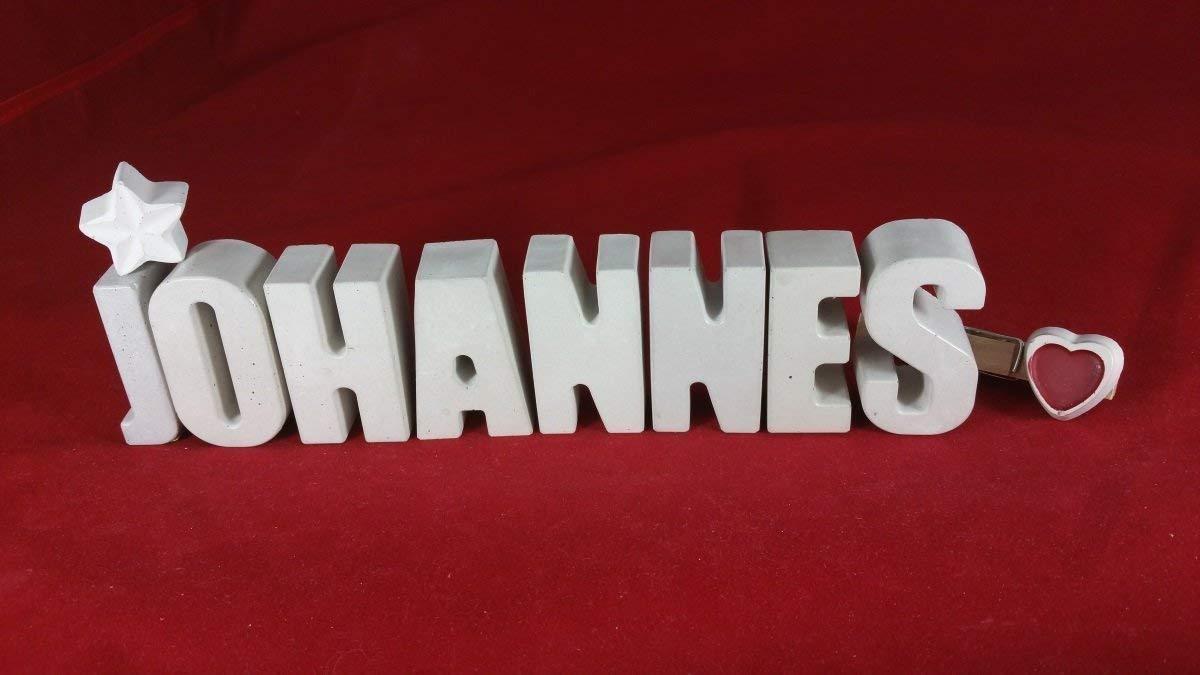 Beton, Steinguss Buchstaben 3D Deko Namen JOHANNES mit Stern und Herzklammer als Geschenk verpackt! Ein ausgefallenes Geschenk zur Geburt, Taufe, Geburtstag, Namenstag oder auch zu Weihnachten!