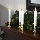 Flameless Taper Window Candles with Gold