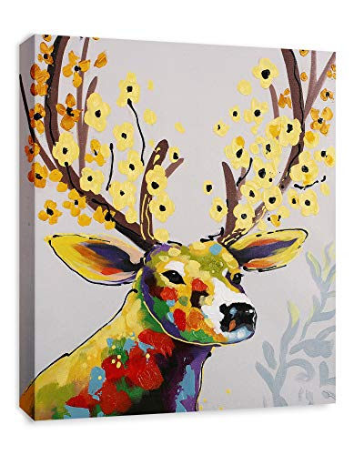 Art Hub Colorful Deer with Flowers Modern Pop Animal Art (Framed) Canvas Print Home Decor Wall Art, Gallery Wrap Inner Frame, 24x30