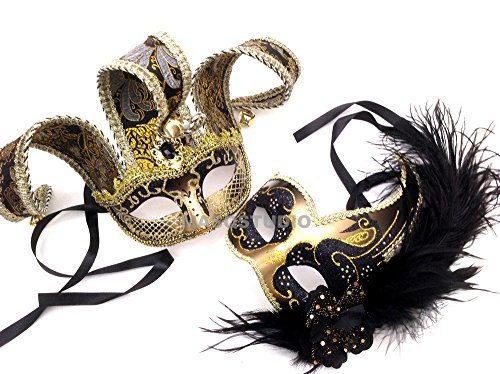 MasqStudio Couples Masquerade Jolly Jester Mask Cosplay Mardi Gras Prom Dance Birthday Party Wear or Deco (Black Gold) -