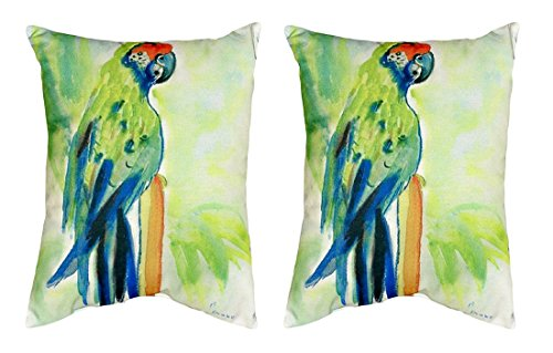 Pair of Betsy Drake Green Parrot No Cord Pillows 16 Inch X 20 Inch price