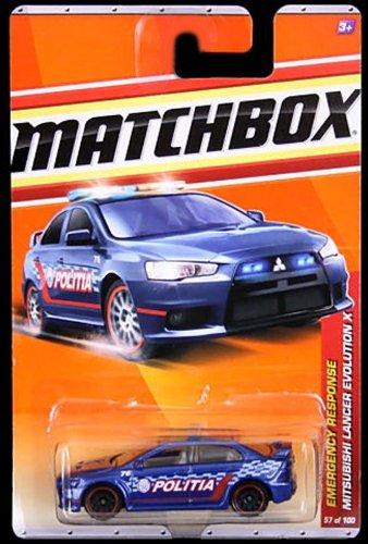 2010-2011 Matchbox BLUE police MITSUBISHI LANCER EVOLUTION X emergency response 9 of 11, #57 of 100
