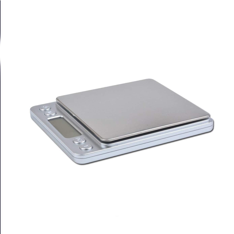 newnet Mini Bilancia Digitale Tascabile 0.01gr 500gr Scala Postale//Bilancino Pesa Oro Moneta//Bilancia per Cibo da Cucina Gioielli Colore Argento
