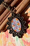Moroccan Patterns Floral Vintage Pendant Necklace in an Antique Copper Oval Setting & Matching Chain Moroccan spirit Arabesque Charm Antique Magical talisman Islamic art Arabic Boho Gifts for Her