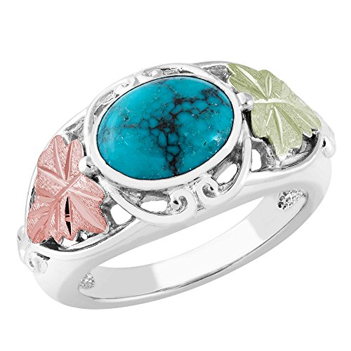 Inlaid Oval Turquoise with Leaves Ring, Sterling Silver, 12k Green and Rose Gold Black Hills Gold Motif, Size 8