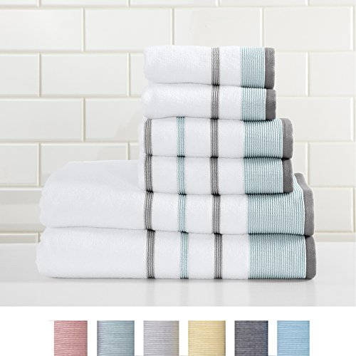 Great Bay Home 6-Piece 100% Turkish Cotton Striped Towel Set, Soft, Ultra-Absorbant. Includes 2 Bath Towels, 2 Hand Towels and 2 Washcloths. Noelle Collection Brand. (Eucalyptus/Grey) (Barn Colors Pottery Bathroom)