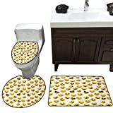 Emoji Bed Set Walmart John Taylor Emoji 3 Pc Bath Rug Set Smiley Face Character Illustration Feeling Happy Surprised Cool and in Love Rug Contour, Mat and Toilet Lid Cover Yellow Red Black