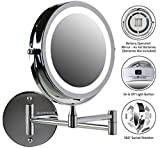 Ovente Wall Mount LED Lighted Makeup Mirror, Battery Operated, 1x/10x Magnification, 7 Inch, Polished Chrome (MFW70CH1x10x)