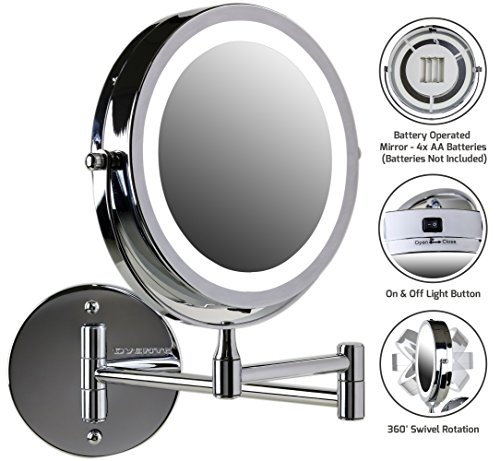 D Lighted Makeup Mirror, Battery Operated, 1x/10x Magnification, 7 Inch, Polished Chrome (MFW70CH1x10x) ()