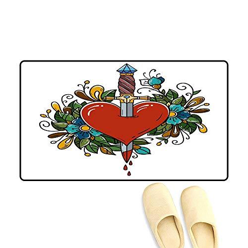 doormatRed Heart Decorated with Flowers Pierced with Dagger Tatoo Dagger Piercing Heart with Dripping Blood Love Old school1 Outdoor Doormat ()