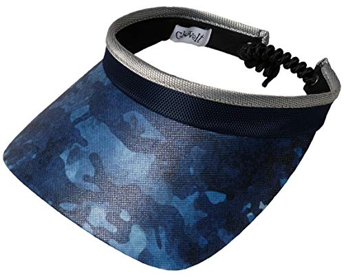 GloveIt Women's Adjustable Coil Visor - Golf & Tennis Head Visors for Women - UV 50 Protection - Ladies Sun Visor Hat - Large Wide Brim - 2019 Blue Camo ()