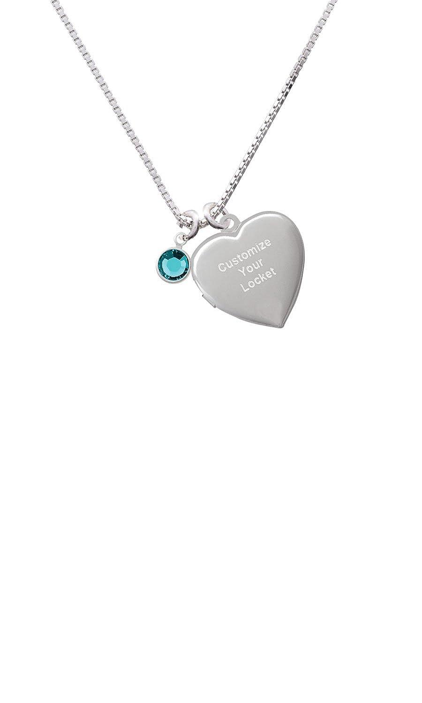 Crystal Teal Channel Drop Custom Engraved Heart Locket Necklace