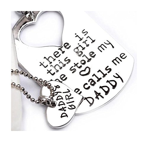 Daddy's Girl Set, Engraved Heart Key Chain and Necklace Puzzle, Father's Day, Gifts for Father, comes with Inspirational Quote (Engraved Keychain Heart)