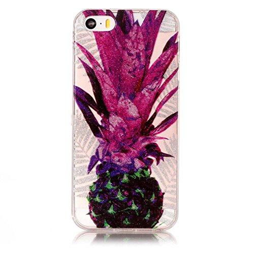 Custodia iPhone 5 5S SE , LH Foglie Viola Ananas TPU Trasparente Silicone Cristallo Morbido Case Cover Custodie per Apple iPhone 5 5S SE