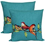 Mainstays Birdie Turquoise Outdoor Toss Pillow - Set of 2