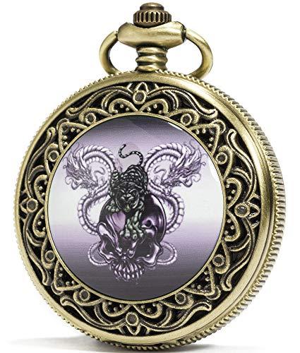 (SEWOR Fashion Bronze Quartz Enamel Painting Pocket Watch Black Dial + Leather Gift Box (Tiger Skull Dragon))
