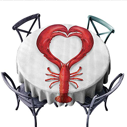 - Sea Animals Decor Dinner Picnic Table Cloth A Boiled Lobster Shaped as A Heart Symbol Seafood Love Valentines Restaurant Menu Art Round Wrinkle Resistant Tablecloth (Round, 54 Inch, Red)