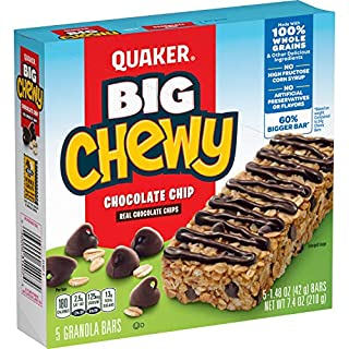 Quaker Big Chewy Granola Bars, 60% Larger, Chocolate Chip, (5 Pack)
