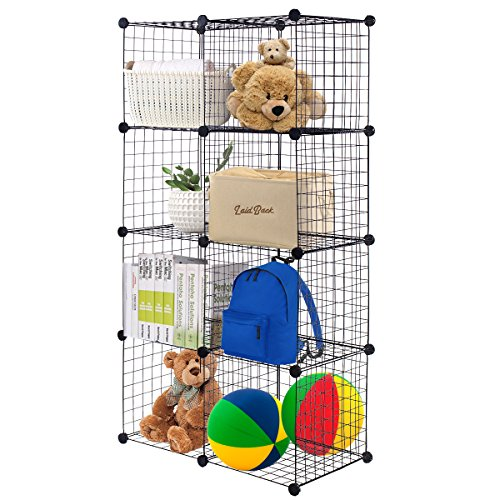 TANGKULA Wire Cubes Metal Wire Free Standing Modular DIY Bookcase Closet Organization Storage Cubes (8 cube)