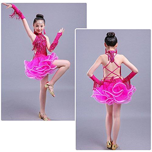 Latina Gonna Da Concorrenza Vestiti Latino Paillettes Abiti Costumi Ragazze Bambini Rosa Per Danza Arricciata Bozevon Ballo Di Nuovi B1zqOwn