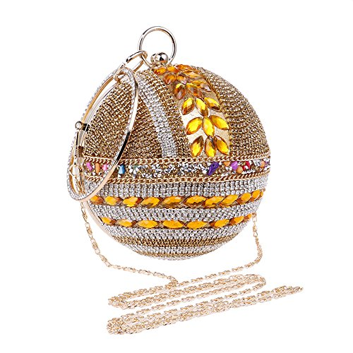 Wedding Woman Handbag Purse Handbag Banquet Clutch Ball Round Bag Party Evening Rhinestone Blue for RvxR1rqw