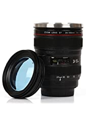 Mango Spot Best Camera Lens Thermos Stainless Steel Cup/Mug for Coffee or Tea, Black with Transparent Lid