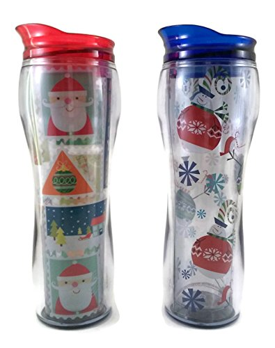 Boston Warehouse Christmas Travel Mug Bundle: One Letters to Santa Insulated Travel Mug, One Sweater Snowman Insulated Travel - Christmas Snowball Drink