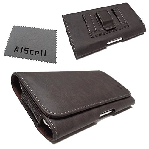 For ZTE Z667 / Zinger / Prelude 2 ~ Deluxe Brown Texture Leather Case Carry Pouch Belt Clip , Belt Loop Holster + AIScell phone Microfiber Cleaning Cloth (By All_Instore) ()