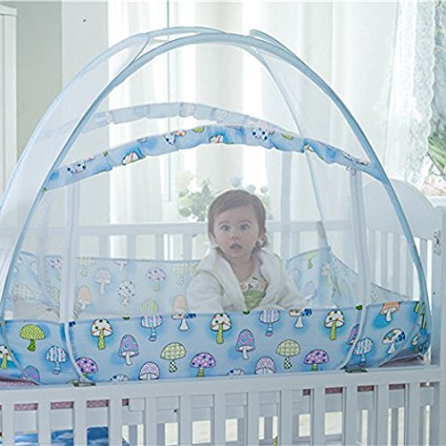 AUMEY Zippered Baby Mosquito Net Foldable Baby Bed Kids Tent Nursery Crib Canopy Netting Folding Cot Mosquito Net (592935inch) by AUMEY (Image #5)