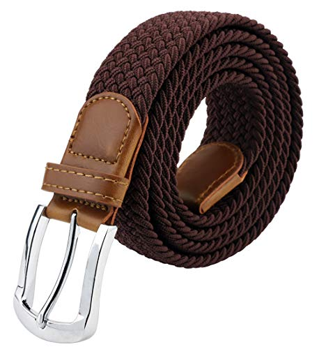 Maikun Braided Elastic Stretch Woven Belt with Leather Tip Nickle Pin Buckle 41 45 ()