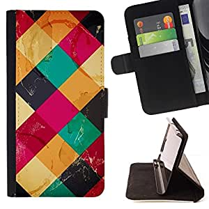 BETTY - FOR Sony Xperia Z2 D6502 - Colorful Cubes Neon - Style PU Leather Case Wallet Flip Stand Flap Closure Cover