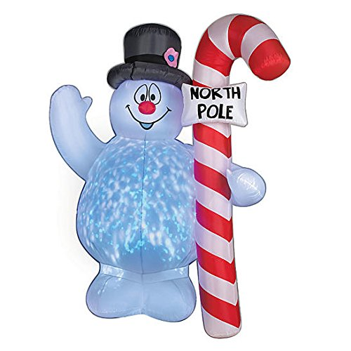 North Pole Snowman - Christmas Inflatable 5' Projection Frosty The Snowman Holding North Pole Candy Cane