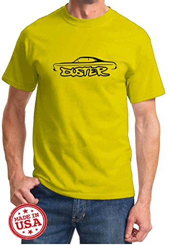 Mopar Plymouth Duster - Plymouth Duster Muscle Car Outline Design Tshirt large yellow