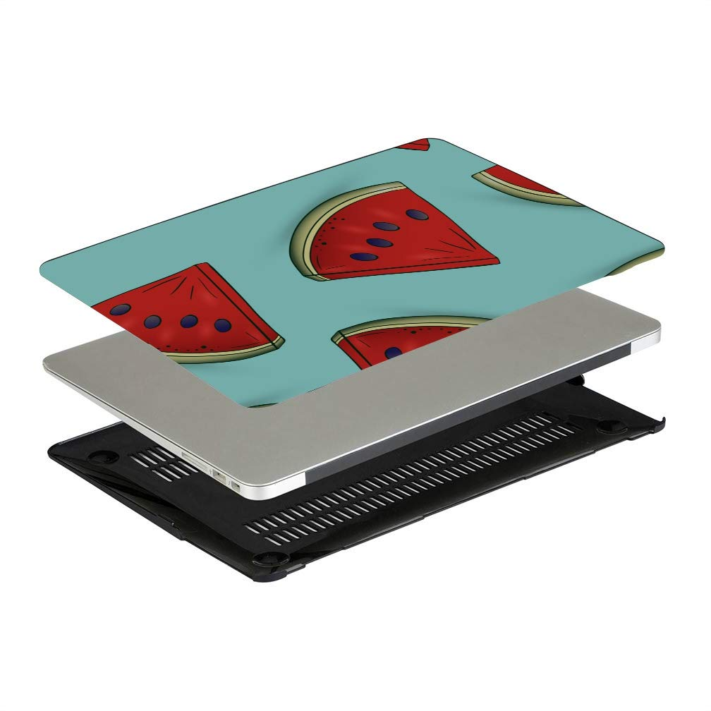 11 MacBook Air Case Summer Sweet Cool Fruit Watermelon Plastic Hard Shell Compatible Mac Air 11 Pro 13 15 MacBook Air Shell Protection for MacBook 2016-2019 Version